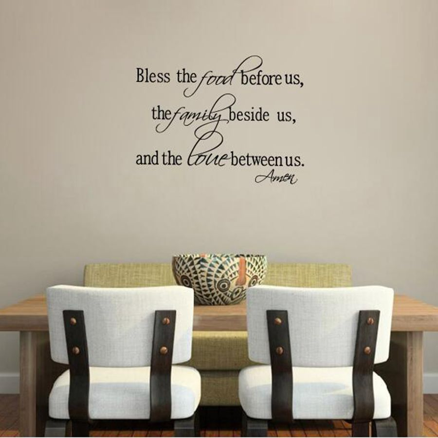 Aliexpress Buy Christian wall stickers Bless the Food Family Love Quotes Wall Decals Religious Art Decor Free Shipping from Reliable wall decor wall