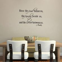 Christian wall stickers – Bless the Food Family Love Quotes Wall Decals Religious Art Decor Free Shipping