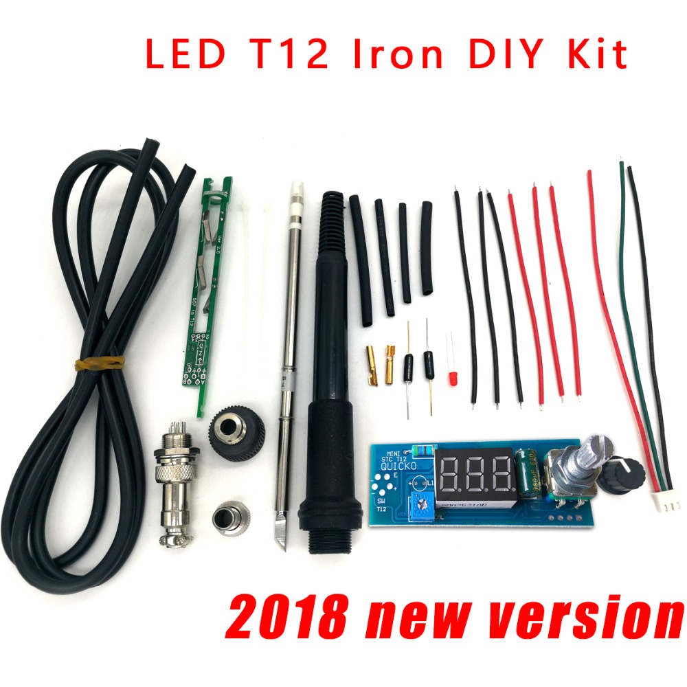 STC-T12 solder iron DIY kits/Unit Digital Soldering Iron Station Temperature Controller Kits / QUICKO MINI STC-LED-T12 DIY sets цена и фото