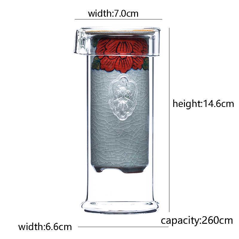260 مللي إبريق الشاي الإبداعي المرسومة باليد بتصميم عتيق مقاوم للحرارة إبريق الشاي الزجاجي ذو العينين مرشح السيراميك هدايا المكتب