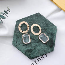 2018 New Metal Round Circle Square Crystal Pendant Drop Earrings for Women Trendy Statement Accessories Jewelry Pendientes