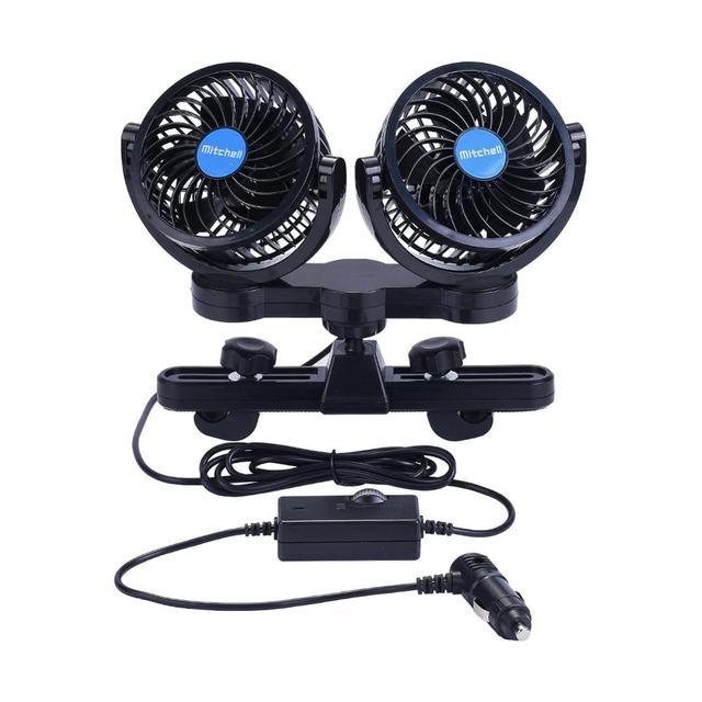 Ventilador de doble cabeza para automóvil 12V / 24V Ventilador ajustable de 360 grados para ventiladores de aire del automóvil