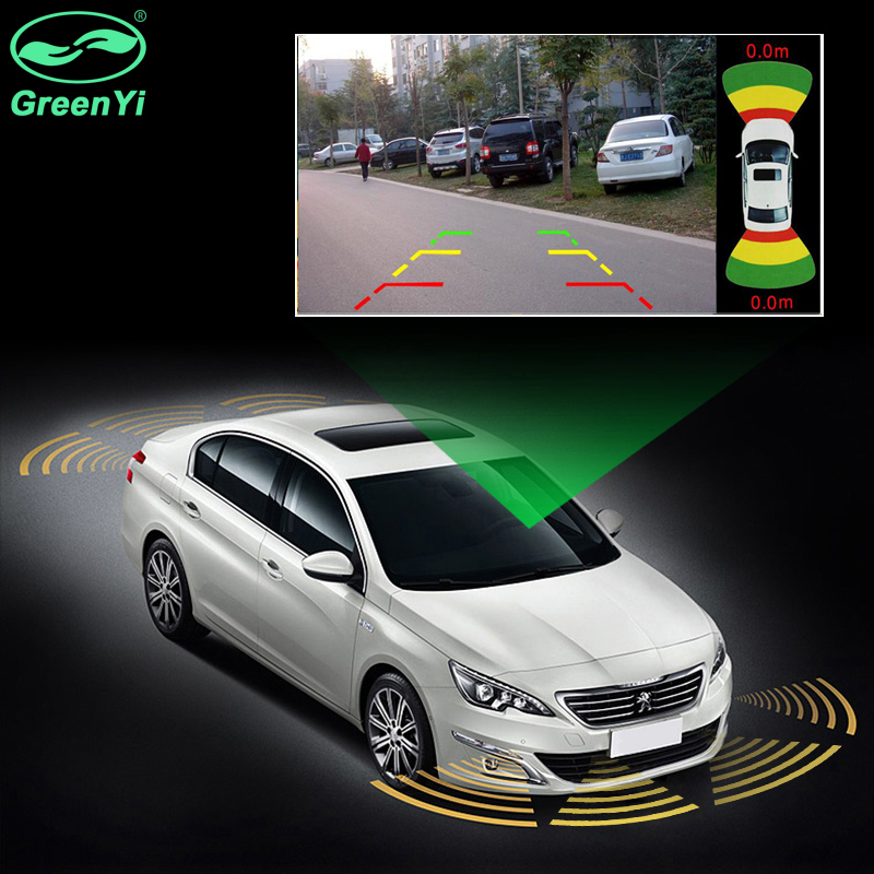 GreenYi Dual Channel Car Video Parking Radar Sensor Front Rear 6 Sensors 2 Video Input For Car Parking Camera Monitor DVD Player цены