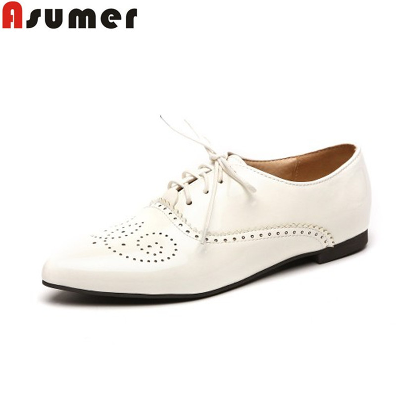 ASUMER Plus size 34-46 hot sale women flats soft leather lace up cut outs pointed toe ladies  flat shoes woman