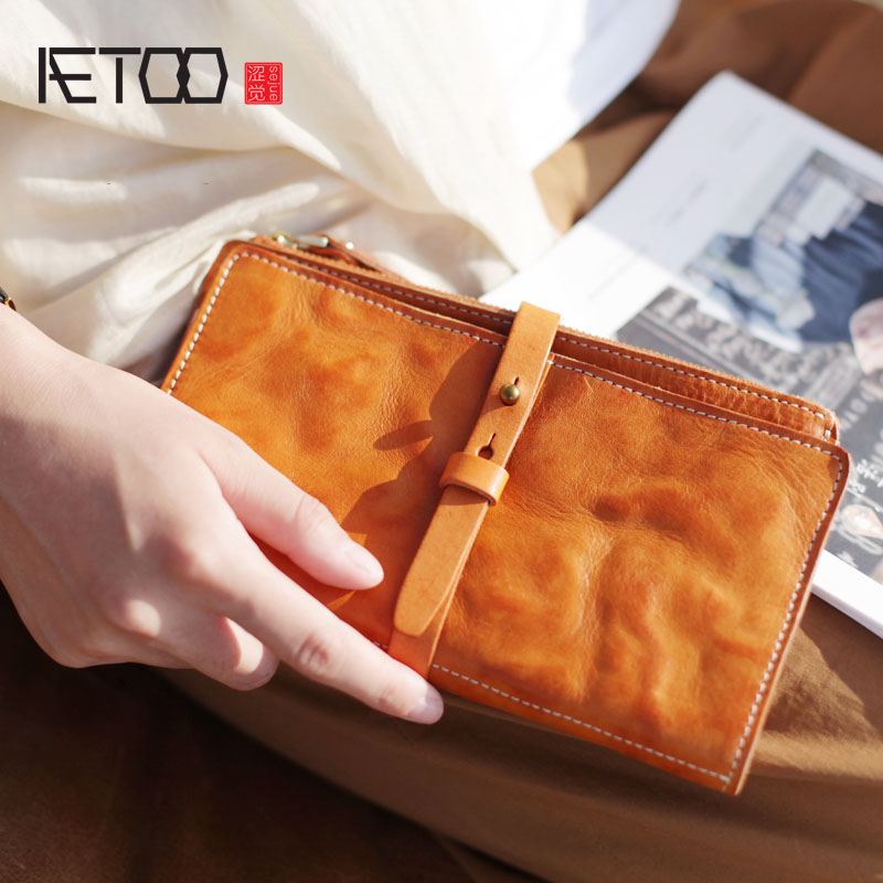 AETOO Handmade first layer vegetable tanned leather long section two fold ultra-thin wallet soft clutch bag men and women vegetable cowpea and yard long bean