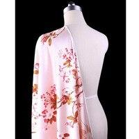 Good Silk fabric Pink Peach Blossom Digital Printed Elstic Satin Silk Fabric Sewing Material DIY Cheongsam Dress Silk Lover Gift