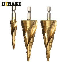 цена на 3Pcs/Set Hex Shank Spiral Grooved Step Cone Drill Bits Sets Core Drill Bit Drilling Taper Point Drill Bits 4-12mm/4-20mm/4-32mm