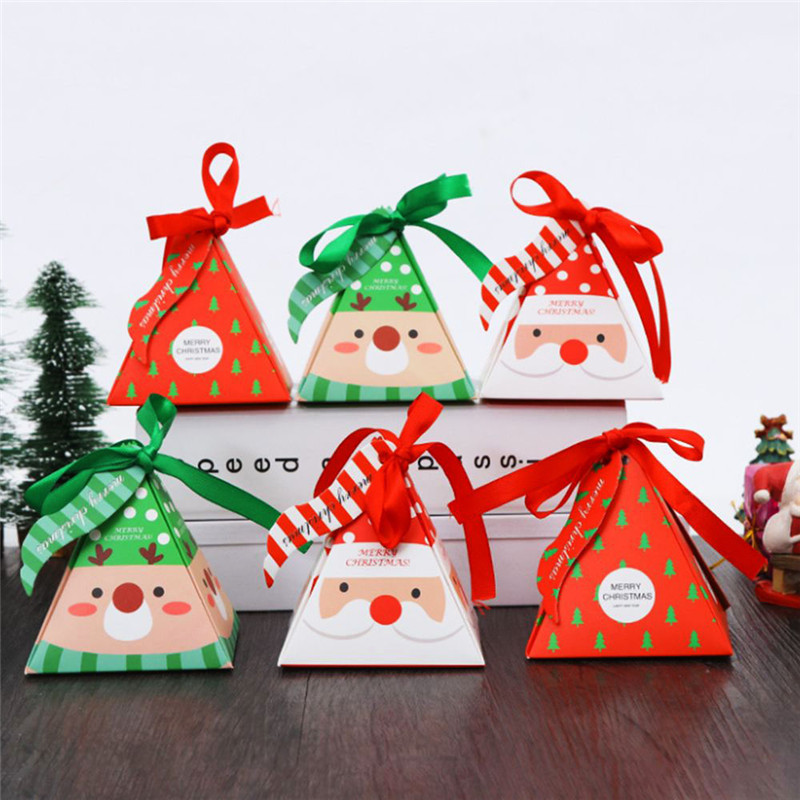 Christmas Tree Elk Party Paper Favour Gift Sweets Carrier Bags Boxes Christmas Apple Cookies Candy Bag Valentine's Day Gift Box