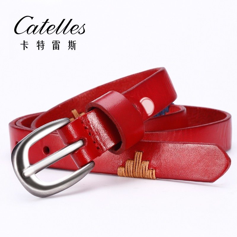 CATELLES Genuine Leather Belt  For Women Handmade Strap Dress Designer Female Belts Woman Girls Fashion Casual Accessories (2)