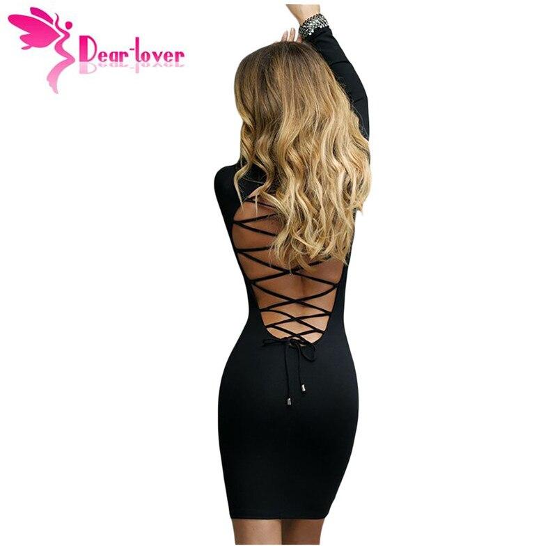 DearLover sexy club de corto vestido de invierno mujeres  Solid Negro ata Para A