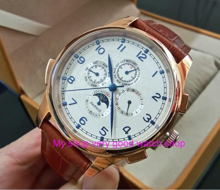 44MM PARNIS Automatic Self-Wind movement white dial multi-funtion men's watch Mechanical watches pvd Rose gold case GL19 original binger mans automatic mechanical wrist watch date display watch self wind steel with gold wheel watches new luxury