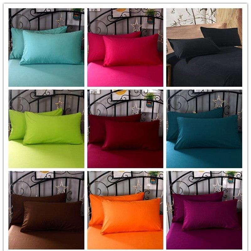 2 stücke 100% Polyester Feste farbe Super-weichen Erweiterte Verschlüsselung Stoff Kissenbezug 50*70 cm 70*70 cm Verschiedene spezifikationen