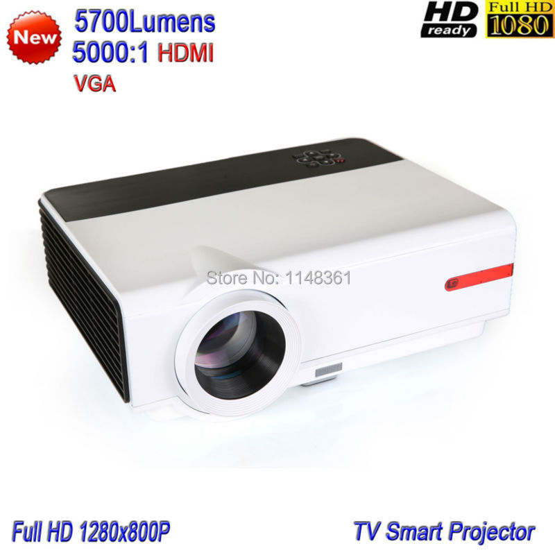 2017 New 5700 Lumens Game Teaching Projector Home Theater LED Projector Full HD 1080P White TV Projector Free shipping