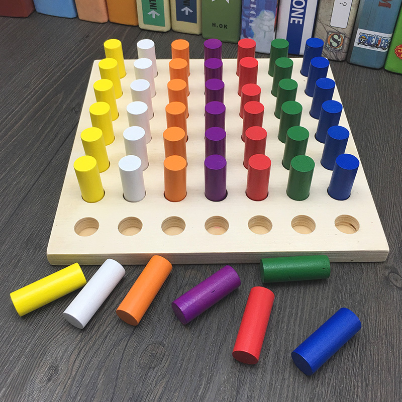 JaheerToy Baby Montessori Educational Wooden Toys for Children Color Cognition Exercise Fine Hand Movements Wood Blocks
