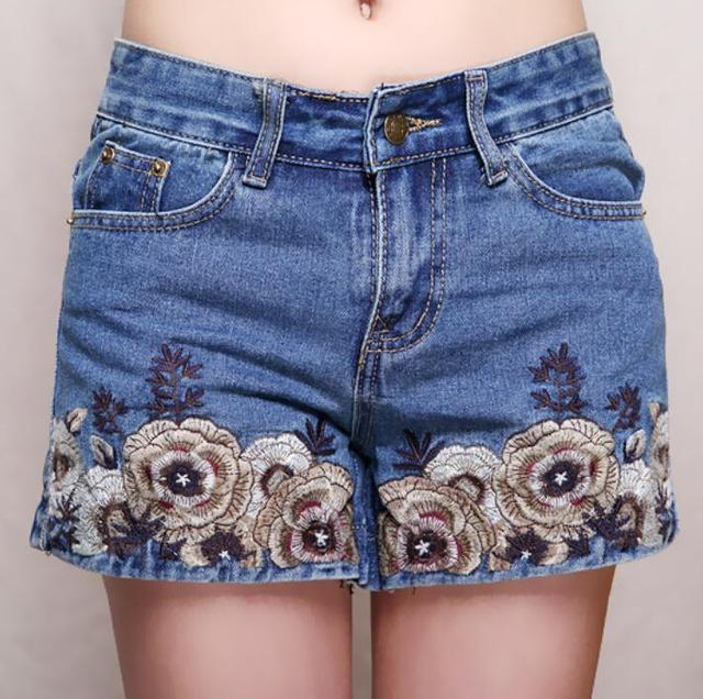 2016 summer new women's fashion was thin Slim legs Ethnic Chinese style embroidery national wind denim shorts plus size F3768