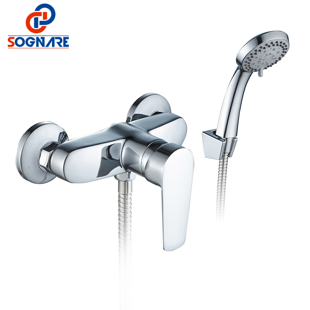 SOGNARE Bathroom Shower Faucets Chrome Bath Faucet Mixer Tap With Hand Shower Head Set Wall Mounted Single Handle Cold Hot D5204 sognare wall shower faucets with hand shower head chrome polished double handle bathroom shower faucet set bath faucet tap d5206