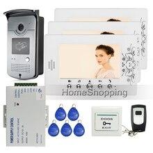 Free Shipping Home 7 LCD Color Video font b Door b font Phone Intercom 1 RFID