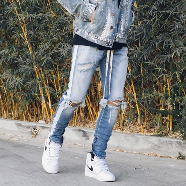 04e8ac4675605 HEYGUYS new fashion pants men skinny jeans Men streetwear ripped jeans for  man Fitted Bottoms zipper hip hop jeans homme denim