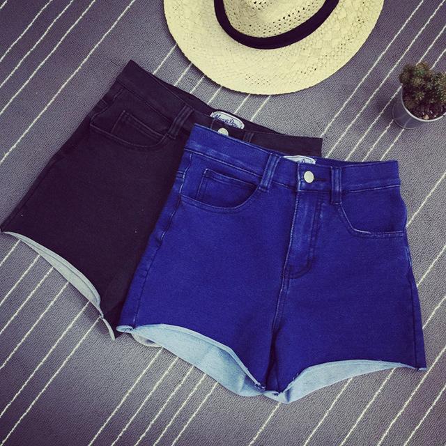 Pantalones Cortos Mujeres más el Tamaño de Mezclilla de La Vendimia Negro Elástico Slim Fit Pantalones Vaqueros casuales 2016 de Verano de Corea de La Muchacha Corta Mini femme 33017