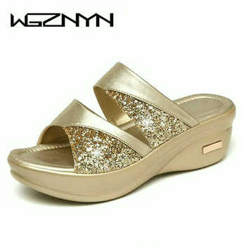 Sequins Mid-heeled Slippers New Mother Shoes Woman Leather Sandals Women Soft Bottom Slippers Female Summer Outdoor Shoes W305