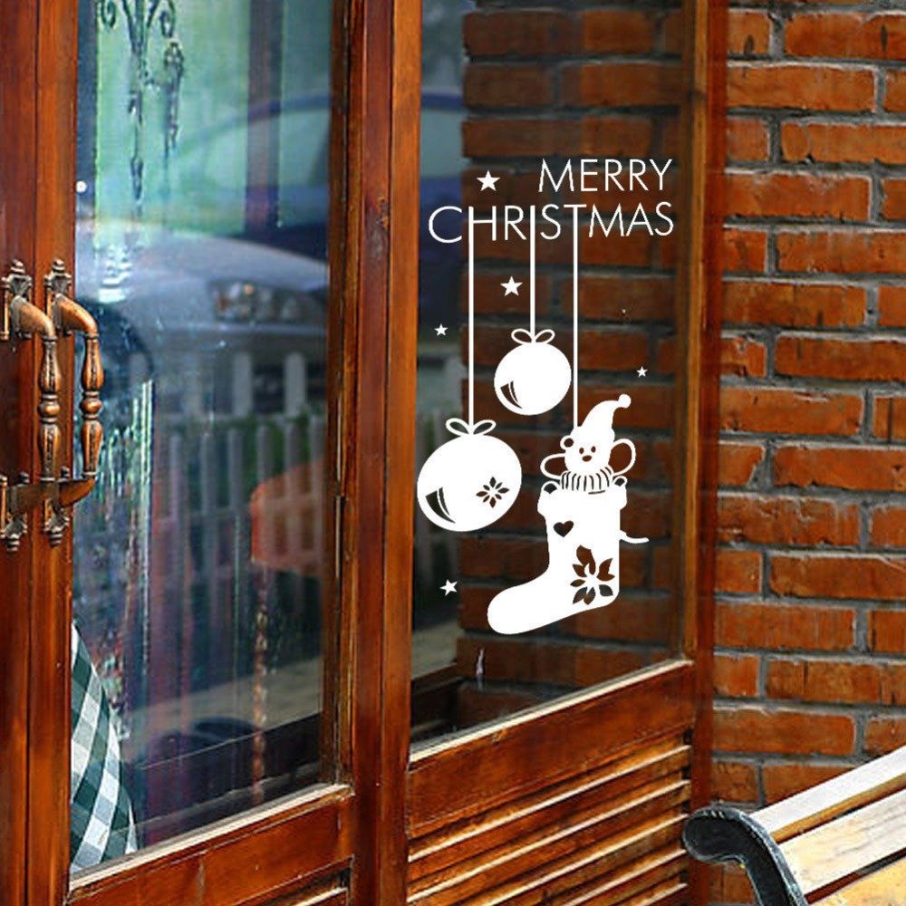 Merry Christmas Socks Bell Decal Holiday Season Window Decor Sticker Art Vinyl Christmas ...