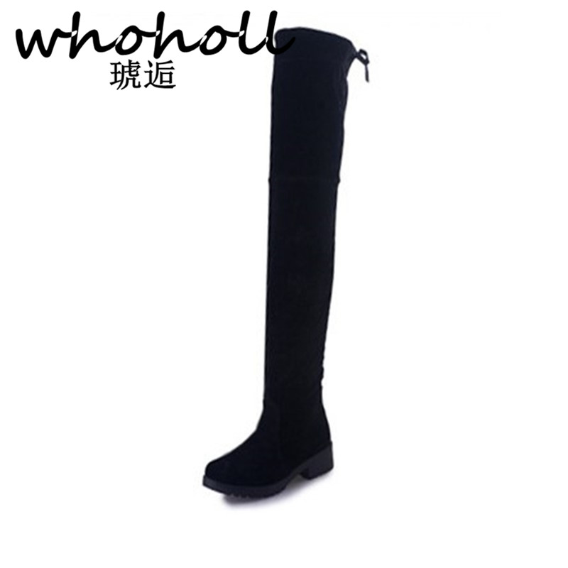 WHOHOLL Fashion High Boots Above Knee Women Black Stretch Sock Booties Round Toe Low Heel Thigh High Boots Lace-up Ladies Shoes lace up plunge neckline high low sweater