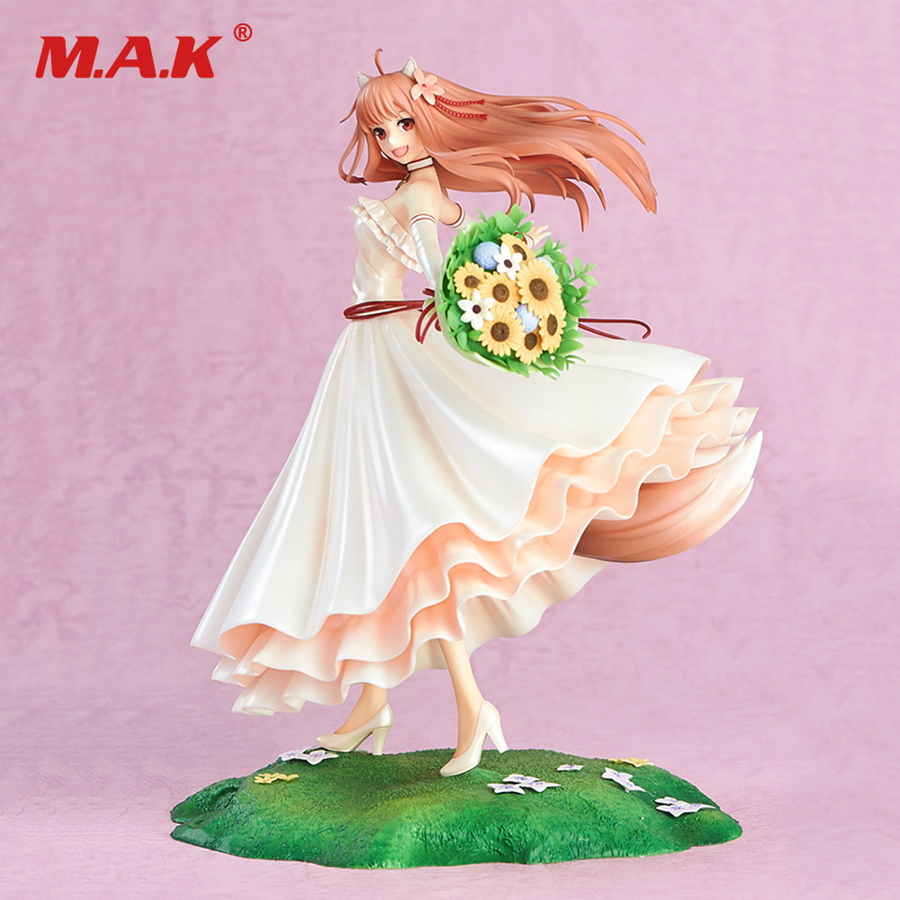 24CM Japanese Anime Spice and Wolf 10th Anniversary Wedding Dress Version Cute Holo Anime Action Figure PVC Model Toys 20cm figurine japanese anime spice and wolf holo pvc action figures sexy girl model toys gift