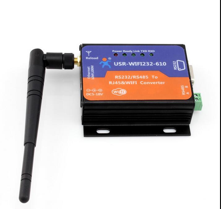 USR-WIFI232-610 RS232/485 to WIFI/RJ45 802.11 b/g/n&Ethernet Converter usr wifi232 610 v2 serial rs232 rs485 to wifi 802 11 b g n and ethernet converter