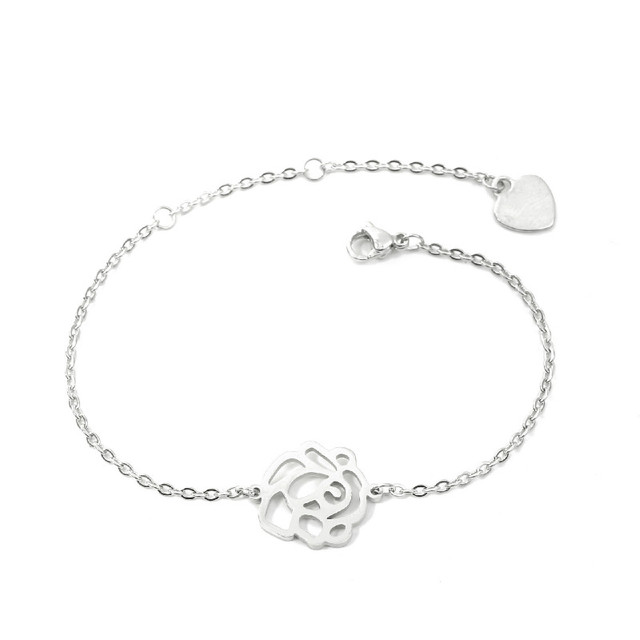 Rose Flower Bracelet Hollow...