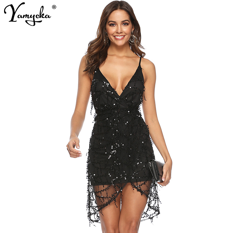 Sexy Black Sequin summer dress women beach Backless club outfits Spaghetti Strap Party dress woman bodycon dresses vestidos 2020