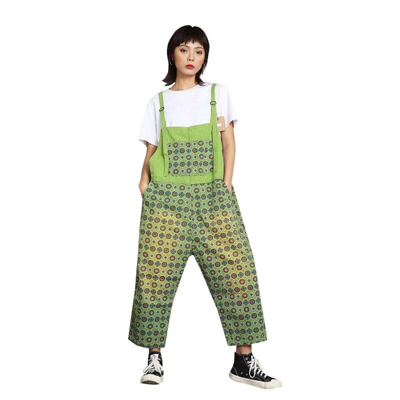 Printemps et été grande taille imprimé vert bavoir femme version coréenne de l'art wash lavé vieux lâche neuf pantalon jeans
