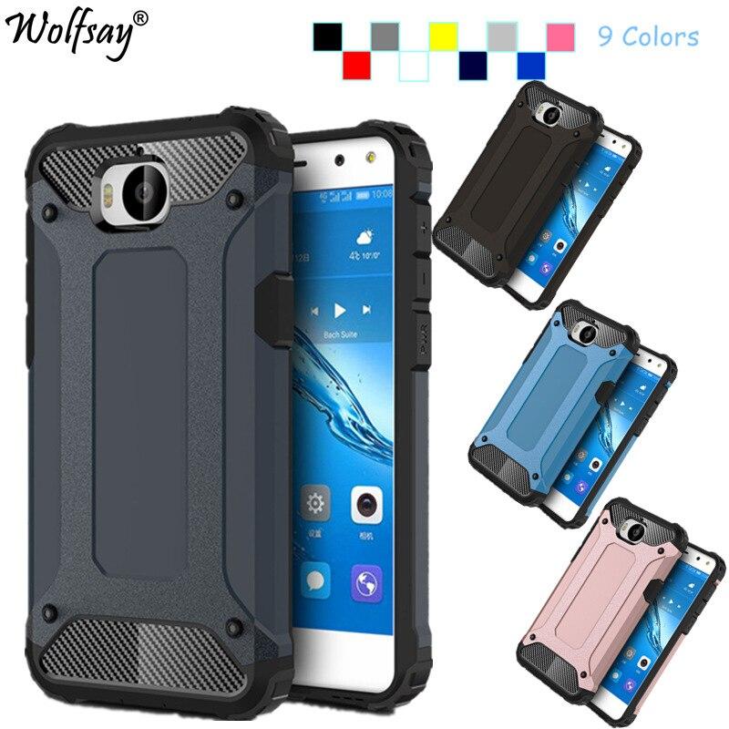Wolfsay Armor Cover Huawei Y6 2017 Case Huawei Y5 2017 Case Silicone Hard Phone Case sFor Huawei Y6 2017 Cover 5.0 inch Fundas