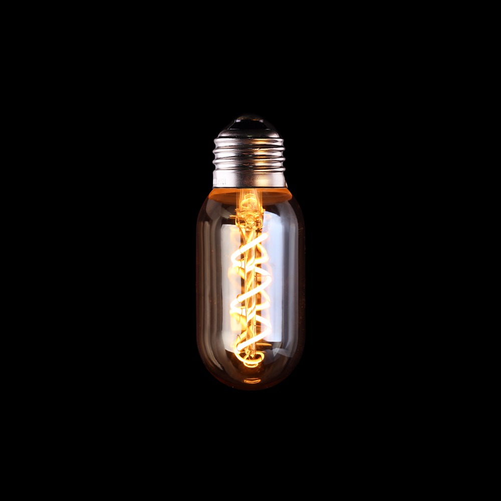 T45  Tubular Shape,3W Dimmable Edison Soft Filament LED Bulb,Super warm 2200K,E26 E27 Base,Decorative Household Lighting dimmable 1w 2w 3w 4w 6w led vintage filament bulb t20 t25 t30 tubular style warm white 110v 220vac e26 e27