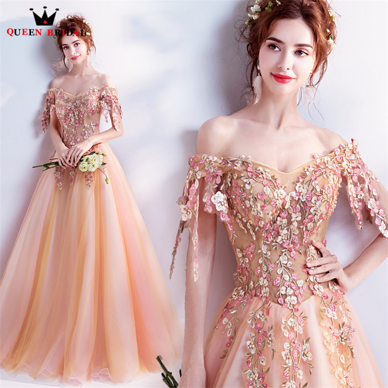 QUEEN BRIDAL Evening Dresses 2018 New A line Cap Sleeve Tulle Flowers Appliques Long Prom Party
