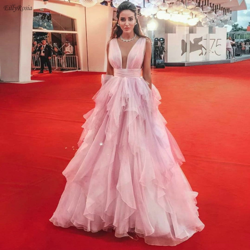 Chic Gala Pink   Prom     Dress   Long 2019 vestidos largos Deep V Neck Ruched Tiered Tulle Celebrity Puffy Ball Gowns gala jurken dames