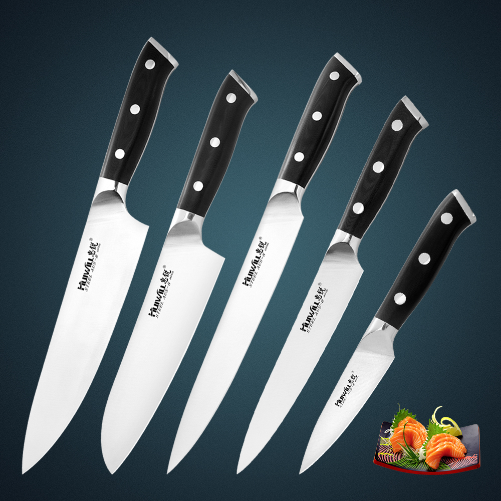 huiwill high quality japanese aus 8 stainless steel kitchen knife set chef knife santoku knife. Black Bedroom Furniture Sets. Home Design Ideas