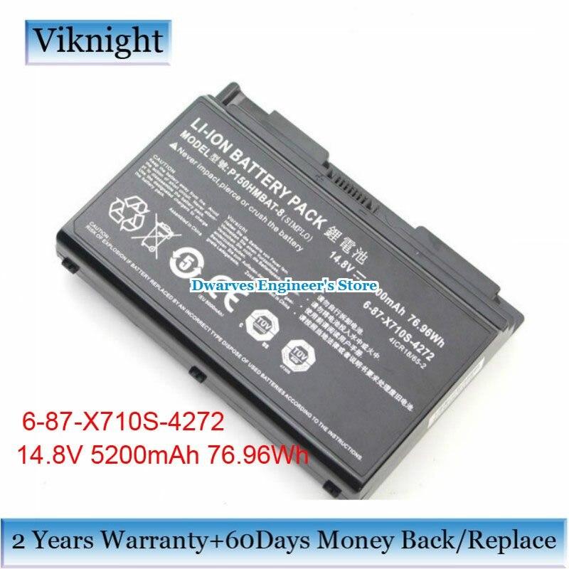 все цены на Genuine 6-87-X710S-4272 Battery 14.8V 5200mAh for Clevo P150HMBAT-8 P170  X511 P150EM P150HM P150HMX P151 P151EM 6-87-X710S-4273 онлайн