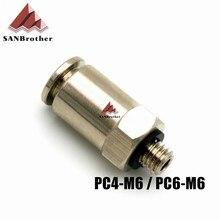 Heißer! 3D Drucker Pneumatische Armaturen PC4-M6, PC6-M6 Für 4mm, 6mm PTFE Rohr Stecker Kupplung Top Qualität