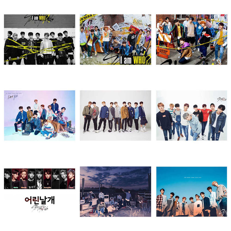 2019 KPOP Stray Kids Cards HD Photo Cards Sticky Photocard Poster Gift For  Star Concert Party Poster Home Art Decoration