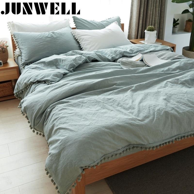 Junwell 100 Washed Cotton Duvet Cover Set 3 Pieces Set Pom pom Embellishment Quilt Cover Set
