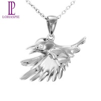 Lohaspie Gold Jewelry 10K White Gold Bird Shape Pendant Fine Fashion Jewelry For Gift Come With A 18 Inches Silver Chain