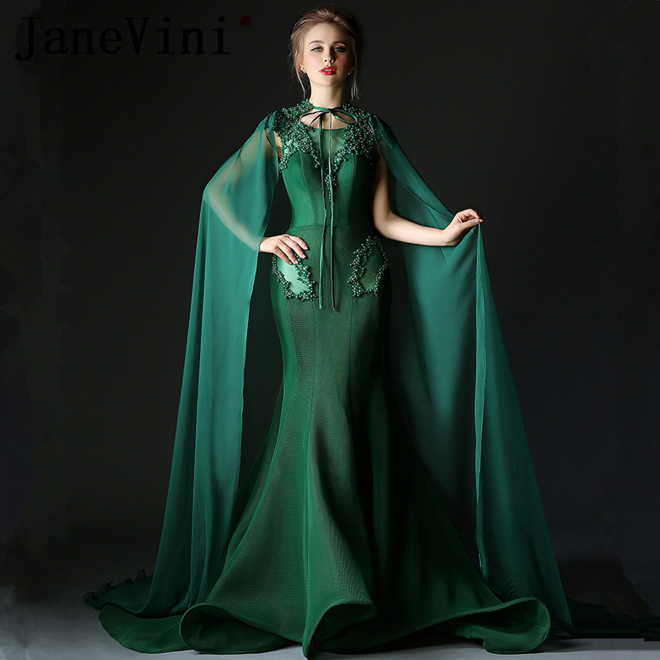 JaneVini Sexy Long   Bridesmaid     Dresses   with Cloak Mermaid Ruffles Sheer Scoop Neck Pearls Tulle Sweep Train Formal Prom Gowns