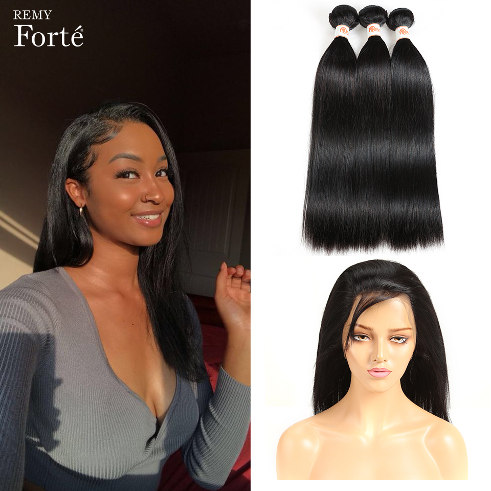 Remy Forte Bundles With Closure 28 Inch Straight Hair Bundles With Closure Brazilian Hair Weave Bundles