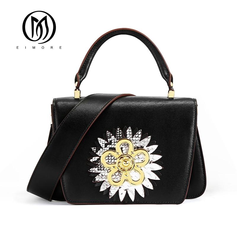 Bagaj ve Çantalar'ten Omuz Çantaları'de EIMORE 2019 Yeni Tasarımcı Kadın Çanta Hakiki Deri askılı çanta Moda Kadın omuz çantaları çiçek dekorasyonu Kadın Çantası'da  Grup 2