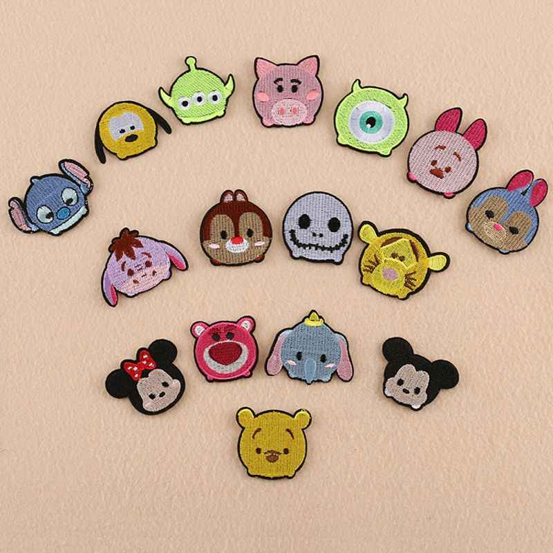 1 PCS TSUM tsum mini mickey Clothes Embroidered Iron on Patches for Clothing DIY Stripes Motif Appliques parches bordados