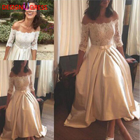 Half Sleeve Ivory Lace Satin Wedding Dresses 2017 Elegant Off Shoulder Bow Sash Tea Length Boho