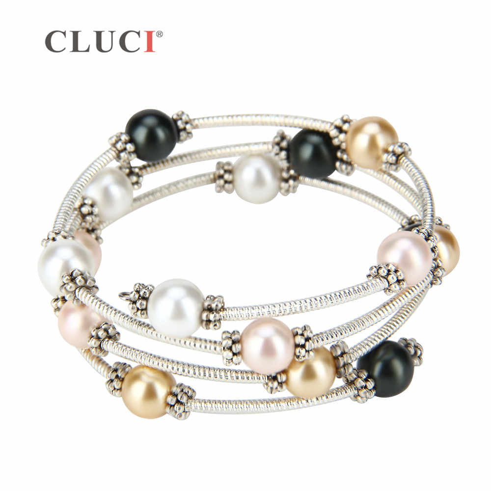 CLUCI fine women jewelry gift adjustable  wire wrap bracelet with four colors pearls simple and elegant styles
