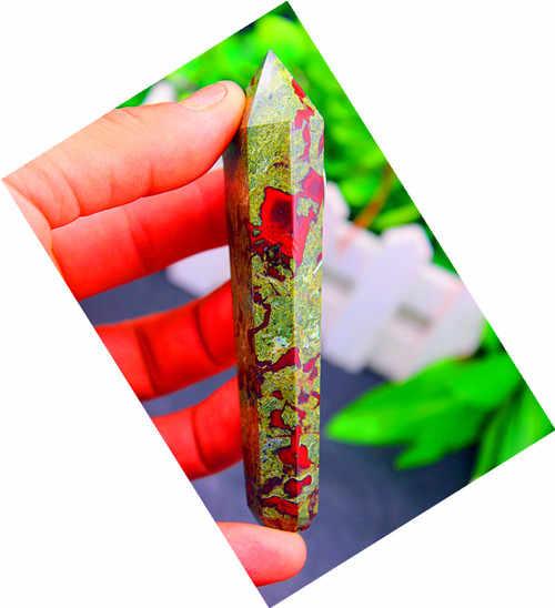 天然水晶ドラゴンbloodstones喫煙パイプ処理+金属ネット89グラム