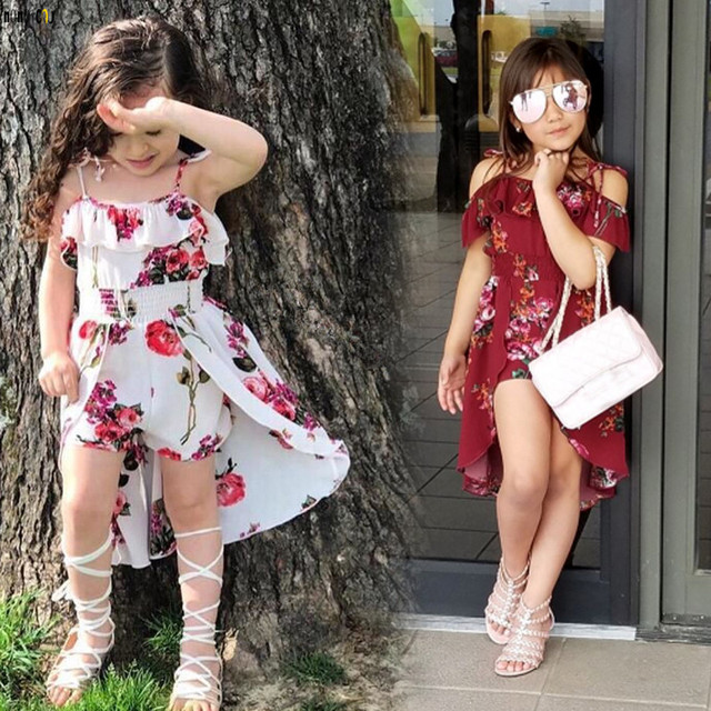 Summer Sling Floral Dress Girl Princess Elegant Ruffles Irregular Culotte Dresses Beach Child Girls Clothes 3 4 6 7 8 10 12 Year