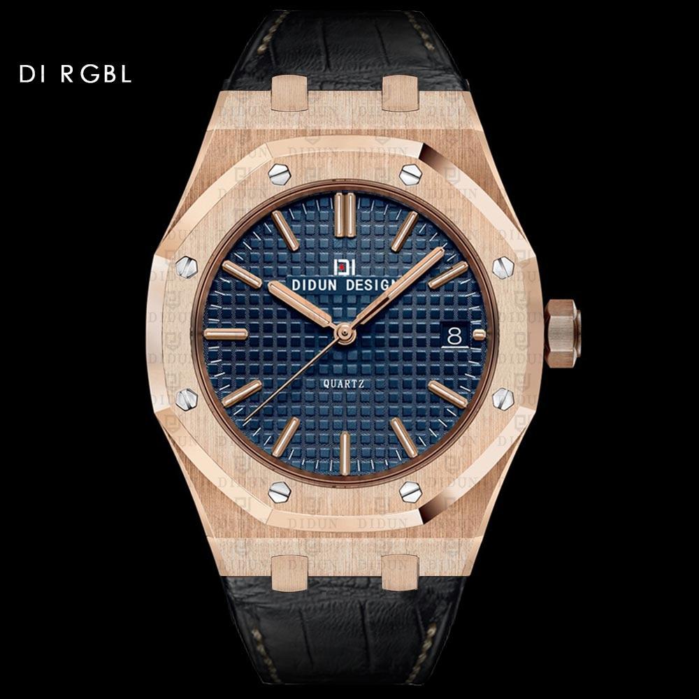DIDUN мужские часы лучший бренд класса люкс кварцевые часы Бизнес 30 м Водонепроницаемый часы мужские светящиеся кожа WatchstrapWristwatch